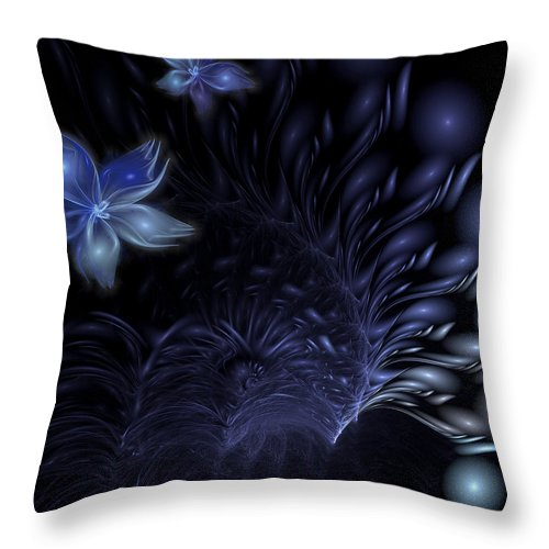 Abstract Throw Pillow featuring the digital art Moonflower by Casey Kotas
