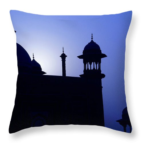 Mosque Throw Pillow featuring the photograph Moonlight And Minarets by Michele Burgess