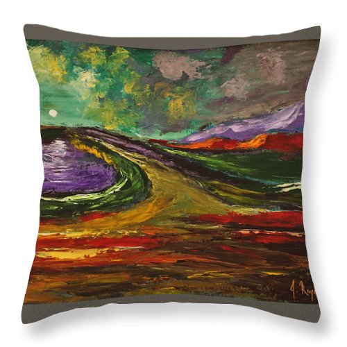 Moonlight Throw Pillow featuring the painting Moonlight by Angel Reyes