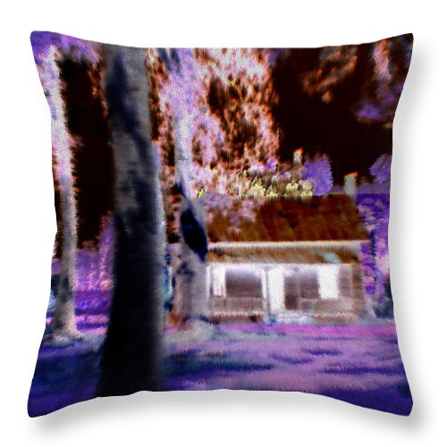 Cabin Throw Pillow featuring the digital art Moonlight Cabin by Seth Weaver