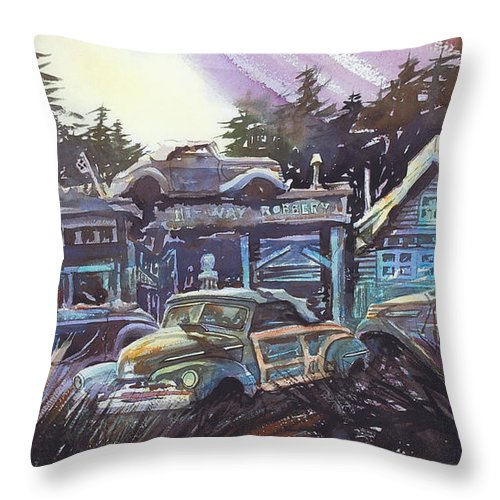 Ford Convertibles Throw Pillow featuring the painting Moonlight Cabriolets by Ron Morrison
