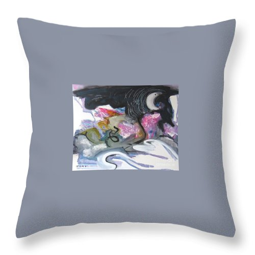 Abstract Paintings Throw Pillow featuring the painting Moonlight Fever by Seon-Jeong Kim