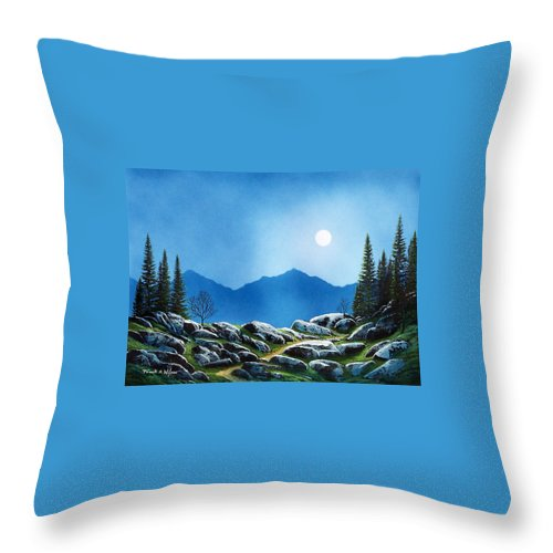 Landscape Throw Pillow featuring the painting Moonlight Hike by Frank Wilson