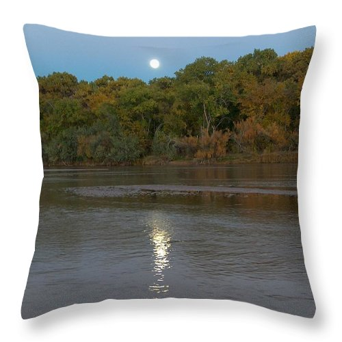 Moonlight Throw Pillow featuring the photograph Moonlight On The Rio Grande by Tim McCarthy