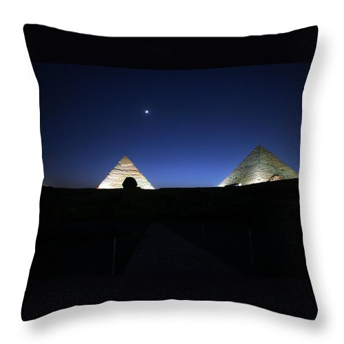 Moonlight Throw Pillow featuring the photograph Moonlight Over 3 Pyramids by Donna Corless