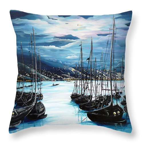 Ocean Painting  Caribbean Seascape Painting Moonlight Painting Yachts Painting Marina Moonlight Port Of Spain Trinidad And Tobago Painting Greeting Card Painting Throw Pillow featuring the painting Moonlight Over Port Of Spain by Karin Dawn Kelshall- Best