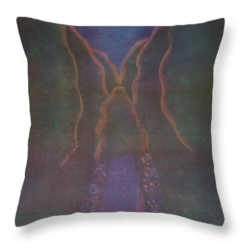 Trees Throw Pillow featuring the painting Moonlight Path by Emily Young