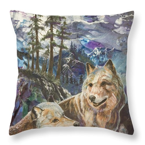 Wolf Throw Pillow featuring the painting Moonlight Rendezvous by Sherry Shipley