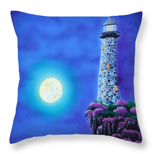 Lighthouse Throw Pillow featuring the painting Moonlight Vigil by Angie Hamlin