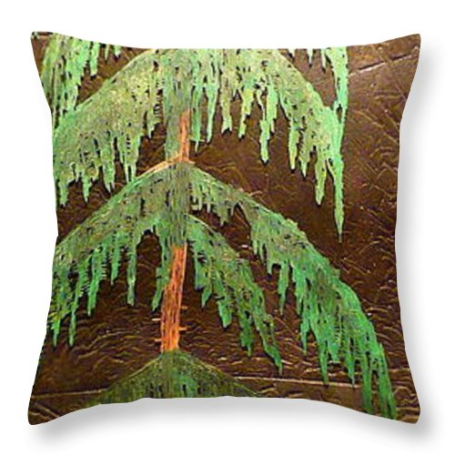 Moonlight Throw Pillow featuring the painting Moonlit Cedar by Rick Silas