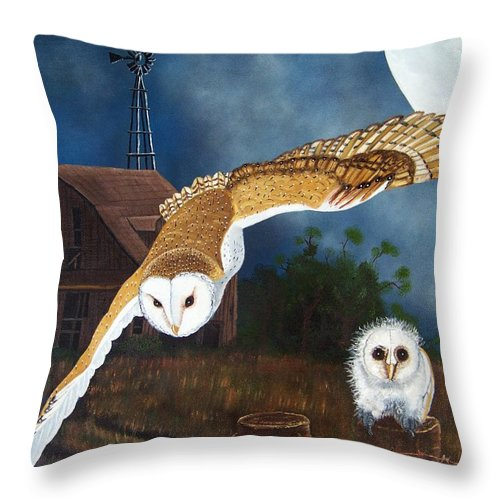 Owl Throw Pillow featuring the painting Moonlit Flight by Debbie LaFrance