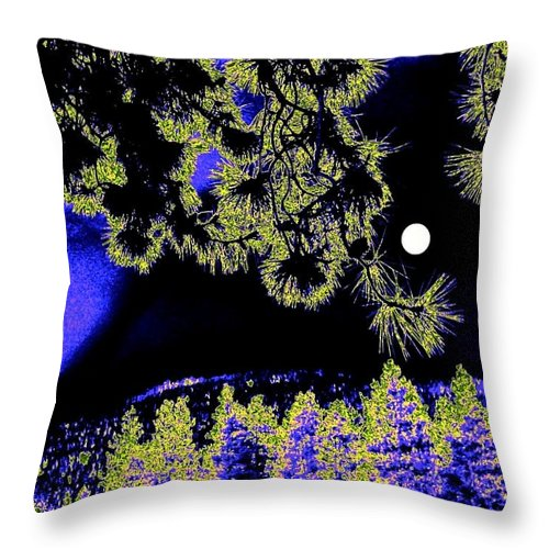 Abstract Throw Pillow featuring the digital art Moonlit High Country by Will Borden