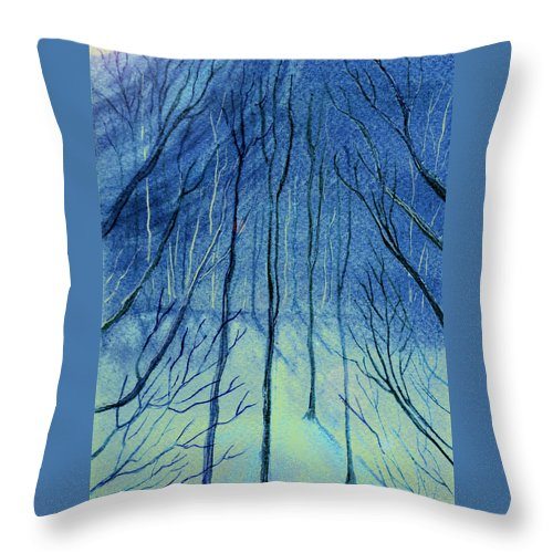 Watercolor Throw Pillow featuring the painting Moonlit In Blue by Brenda Owen