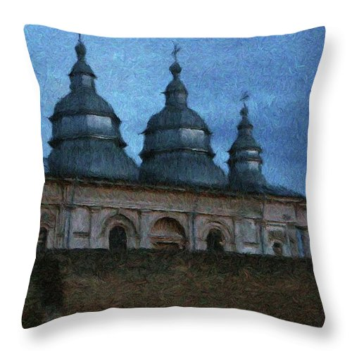 Chapel Throw Pillow featuring the painting Moonlit Monastery by Jeffrey Kolker
