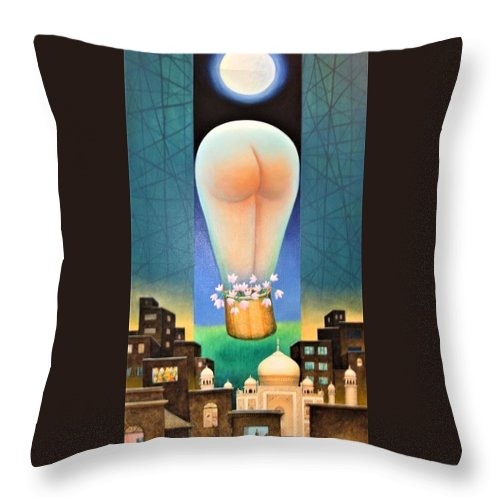 Romantic Throw Pillow featuring the painting Moonlit Night-b by Raju Bose