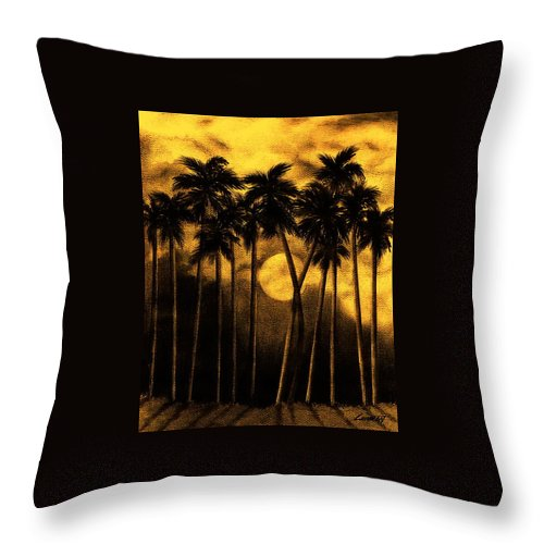 Moonlit Palm Trees In Yellow Throw Pillow featuring the mixed media Moonlit Palm Trees In Yellow by Larry Lehman