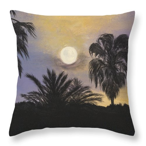 Tampa Throw Pillow featuring the painting Moonlit Palms In Tampa by Donna Mann
