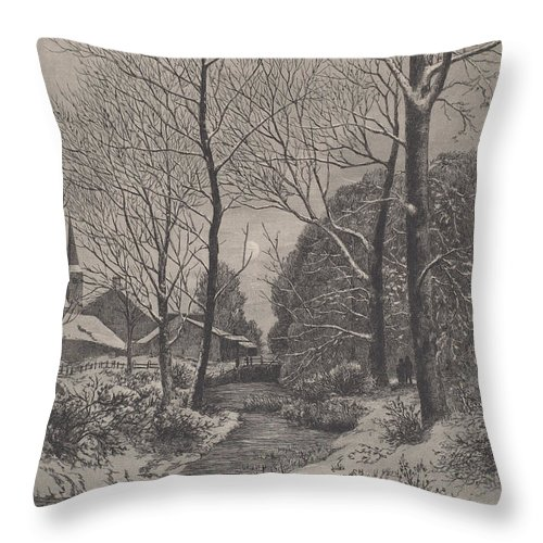 Throw Pillow featuring the drawing Moonlit Stroll In Winter by American 19th Century