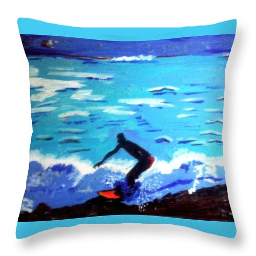 Seascape Throw Pillow featuring the painting Moonlit Surf by Lorna Lorraine