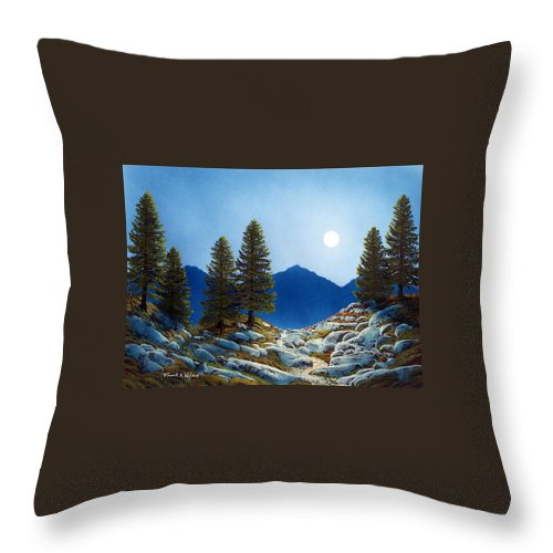 Landscape Throw Pillow featuring the painting Moonlit Trail by Frank Wilson