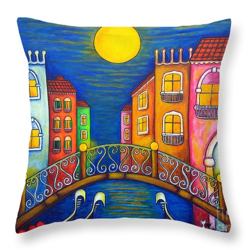 Venice Throw Pillow featuring the painting Moonlit Venice by Lisa Lorenz