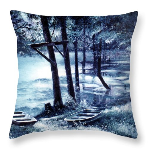 Village Creek Throw Pillow featuring the painting Moonlite On Village Creek by Randy Welborn