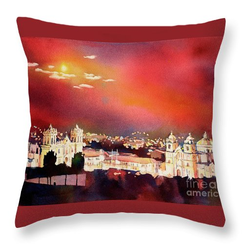Arches Paper Throw Pillow featuring the painting Moonrise Cusco- Peru by Ryan Fox