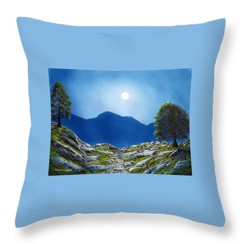 Landscape Throw Pillow featuring the painting Moonrise by Frank Wilson