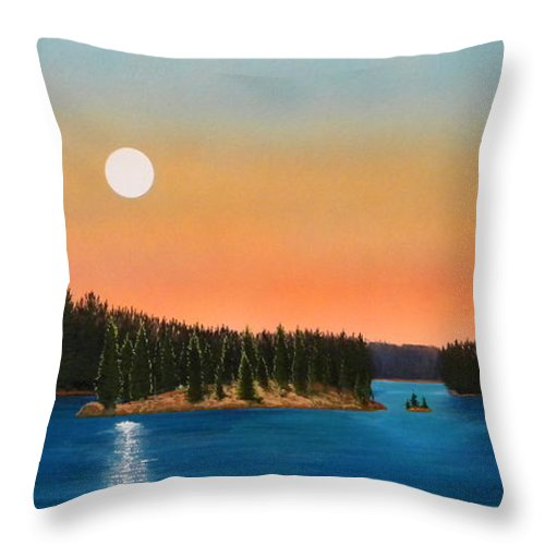 Landscape Throw Pillow featuring the painting Moonrise Over The Lake by Frank Wilson