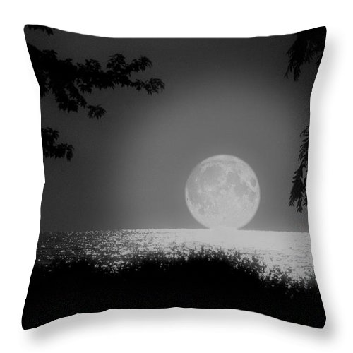 Moon Throw Pillow featuring the photograph Moonset On Lake Erie by Kenneth Krolikowski