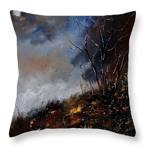 Winter Throw Pillow featuring the painting Moonshine 45901190 by Pol Ledent