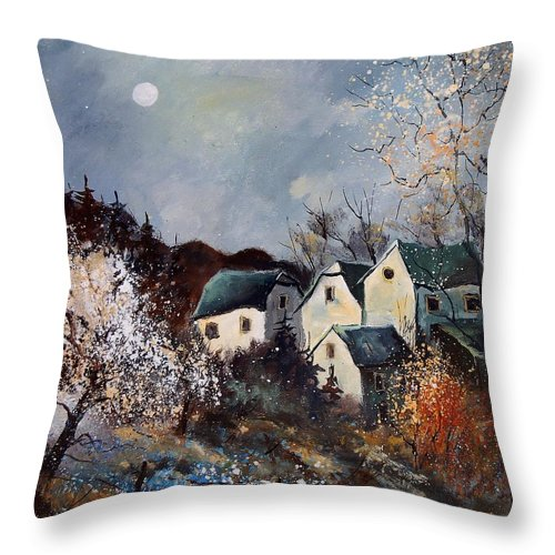 Village Throw Pillow featuring the painting Moonshine by Pol Ledent