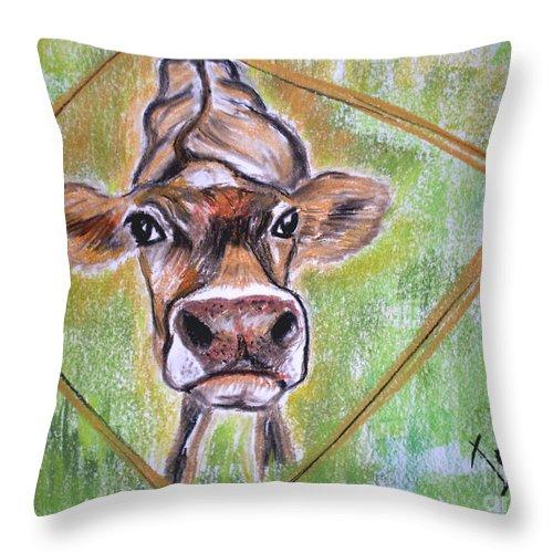 Animals Throw Pillow featuring the drawing Moooo by Irisha Golovnina