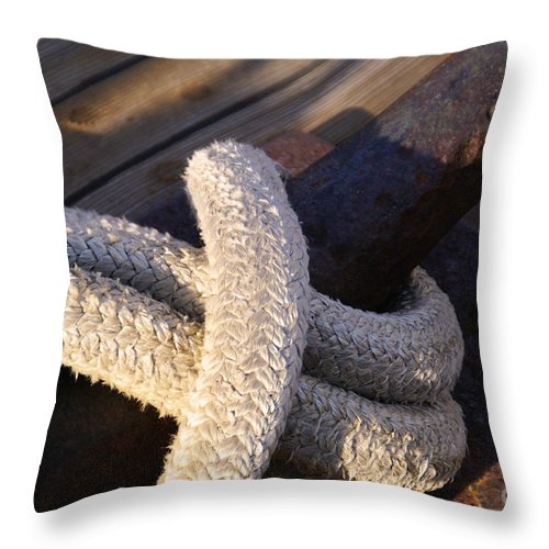 Mooring Rope Throw Pillow featuring the photograph Mooring Rope by Linda Shafer