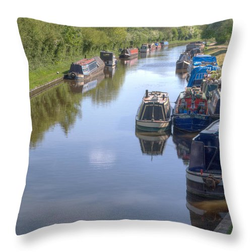 Canal Throw Pillow featuring the photograph Moorings by Chris Day