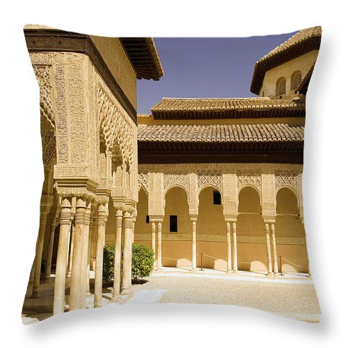 Moorish Throw Pillow featuring the photograph Moorish Architecture In The Nasrid Palaces At The Alhambra Granada by Mal Bray