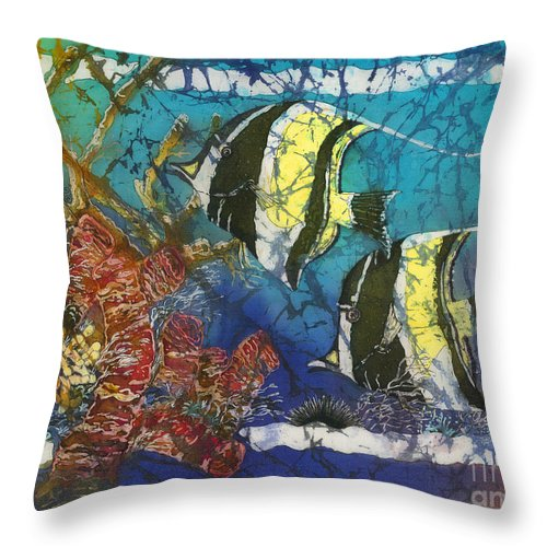 Moorish Idols Throw Pillow featuring the painting Moorish Idols by Sue Duda