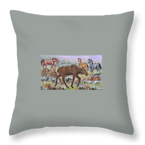 Animal Throw Pillow featuring the painting Moose And Horses Animal Vignette From River Mural by Dawn Senior-Trask