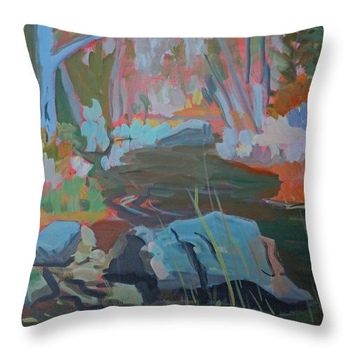 Landscape Throw Pillow featuring the painting Moose Lips Brook by Francine Frank