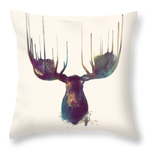 Animal Throw Pillow featuring the painting Moose // Squared Format by Amy Hamilton