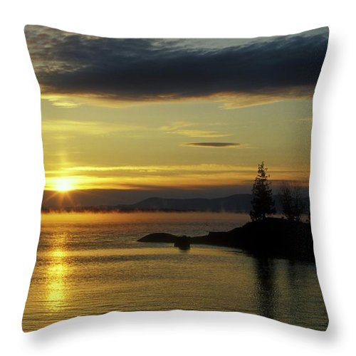 Moosehead Lake Throw Pillow featuring the photograph Moosehead Lake Sunrise by John Burk