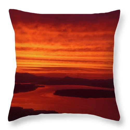Mooselookmeguntic Lake Throw Pillow featuring the photograph Mooselookmeguntic Lake Tropical Storm Bands by John Burk