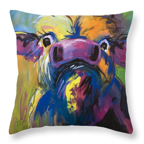 Cow Throw Pillow featuring the painting Moove Aside by Terri Einer