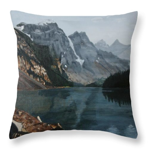 Landscape Throw Pillow featuring the painting Moraine Lake by Betty-Anne McDonald