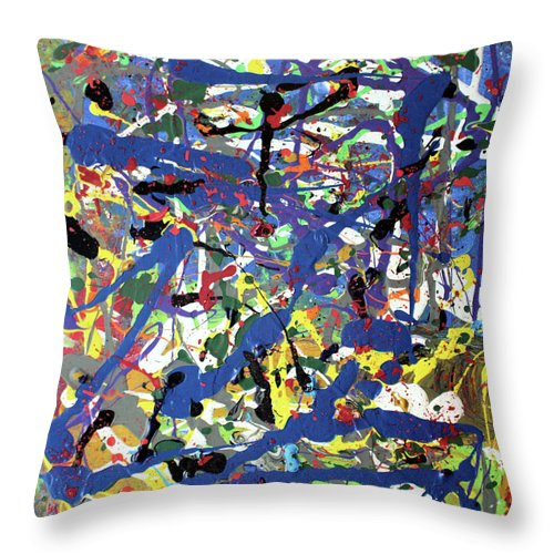 Blue Throw Pillow featuring the painting More Blueness by Pam Roth O'Mara