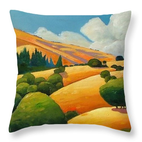 Clouds Throw Pillow featuring the painting More Clouds Over Windy Hill by Gary Coleman