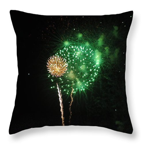 Green Throw Pillow featuring the photograph More Fireworks by Brynn Ditsche