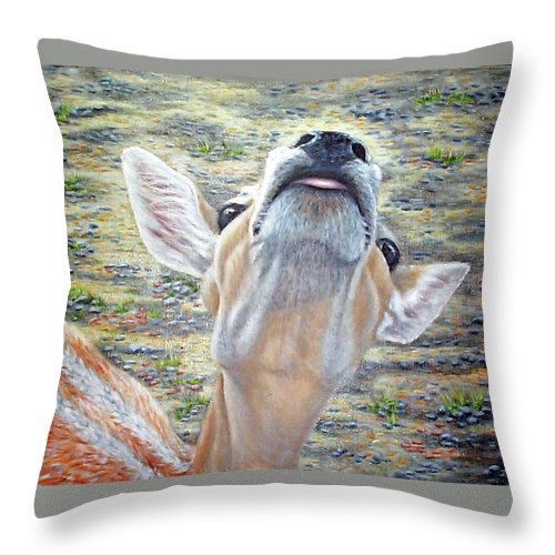 Fuqua - Artwork Throw Pillow featuring the painting More Please by Beverly Fuqua