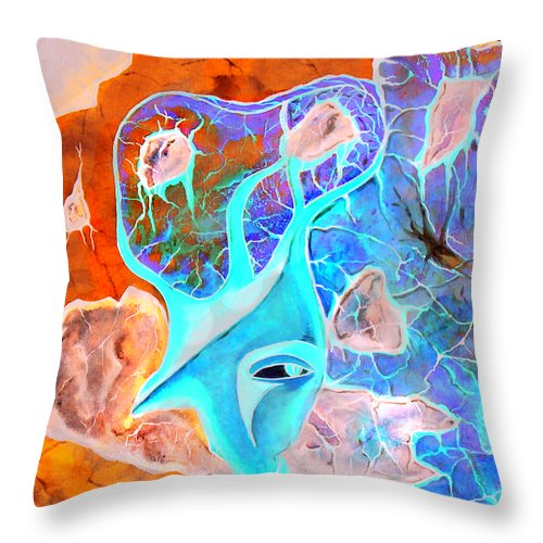 Surrealism Color Sky Haven Stones Throw Pillow featuring the painting More Seconds In My Head by Veronica Jackson