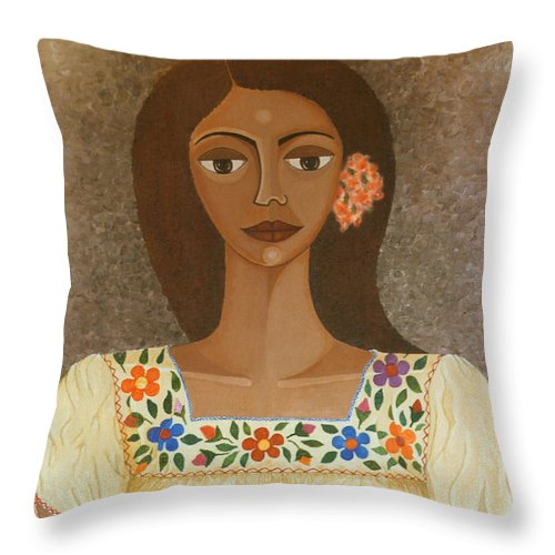 Oil Throw Pillow featuring the painting More Than Flowers She Sold Illusions by Madalena Lobao-Tello
